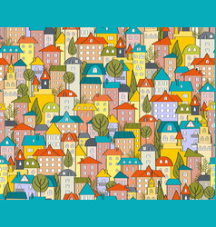 seamless city pattern with cartoon houses vector image