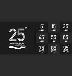Set anniversary logo style with white premium vector
