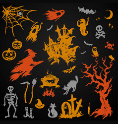 set halloween objects collection vector image