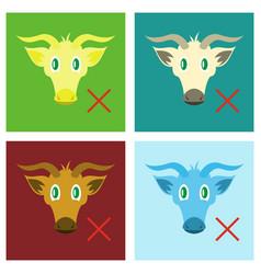 Set of flat goat head livestock animal grazing vector