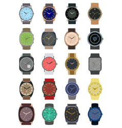 set of twenty classic design mechanical wristwatch vector image
