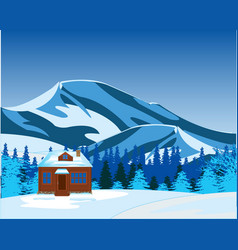 Small lodge misplaced amongst snow and mountains vector