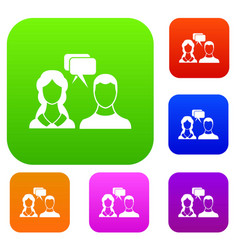 speech bubbles with two faces set collection vector image