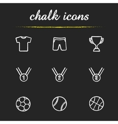 Sport equipment chalk icons set vector image