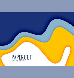 Stylish papercut yellow and blue layers background vector
