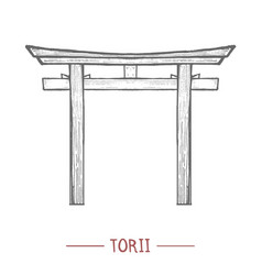 torii in hand-drawn style vector image