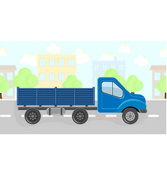 truck carries through the city llustration set vector image