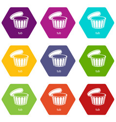 tub icons set 9 vector image
