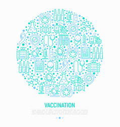 vaccination concept in circle with thin line icons vector image