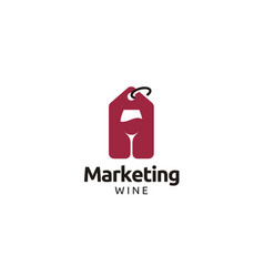 wineglass and price tag label for wine shop logo vector image