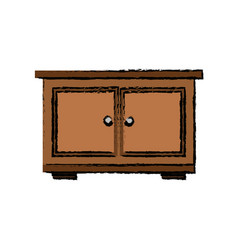 Wooden bedside table furniture doors vector