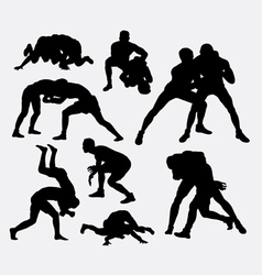 Wrestling sport silhouettes vector