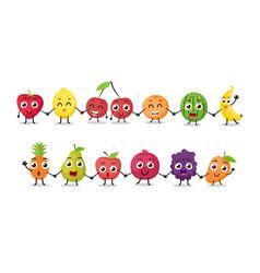 cartoon fruits characters vector image vector image