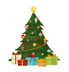 christmas tree with fir gifts balls lights winter vector image