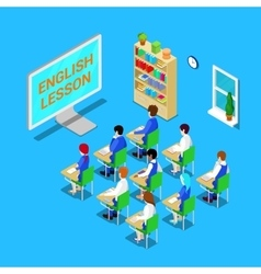 Online Education Concept Isometric Classroom vector image vector image