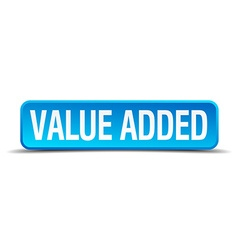 value added blue 3d realistic square isolated vector image
