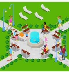 Isometric City Park with Fountain Active People vector image vector image