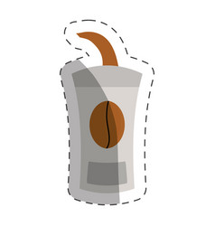 Paper coffee cup cut line vector