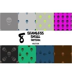 Set of skull seamless pattern vector image vector image