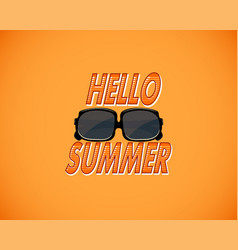 Yellow retro background with hello summer and vector