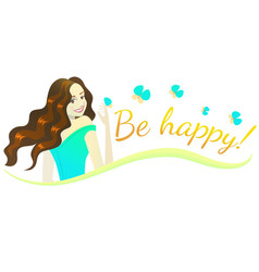 Composition with happy brunette girl vector