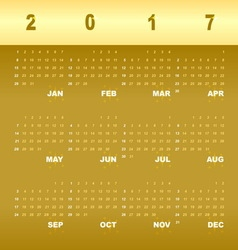 Gold greeting template of 2017 calendar vector image