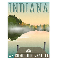 Indiana travel poster or sticker vector