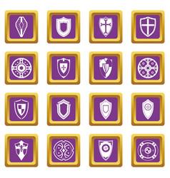 shields set icons set purple vector image vector image