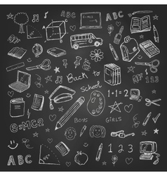 Back to school doodles in chalkboard background vector