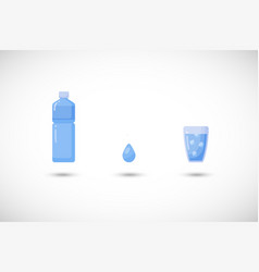 water flat icon set vector image vector image