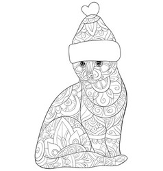 Adult coloring bookpage a cute cat wearing a vector
