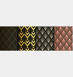 Art deco golden seamless patterns set gatsby vector