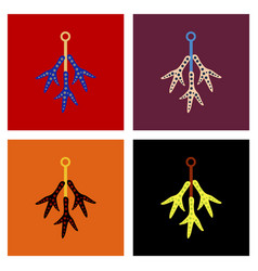 assembly flat icons halloween chicken feet vector image
