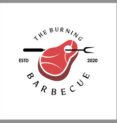 bbq logo simple barbecue label vector image