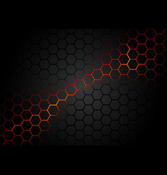 black hexagonal pattern on red magma background vector image