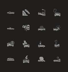Car crashes - flat icons vector