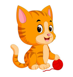 cat playing with ball of yarn vector image