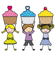 Children with some muffins vector