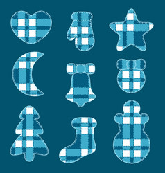 christmas felt toys blue tartan fabric vector image