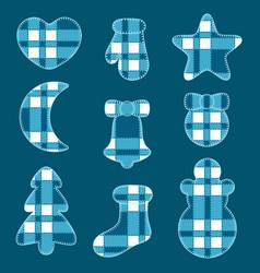 Christmas of felt toys of blue tartan fabric vector