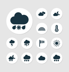 Climate icons set collection of cloudy nightly vector