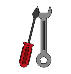 color silhouette cartoon set wrench and vector image