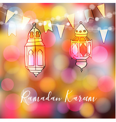 Colorful hand drawn arabic lanterns with lights vector