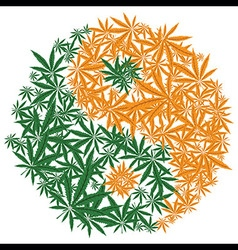 Colorful marijuana design Yin Yang cannabis leaf vector