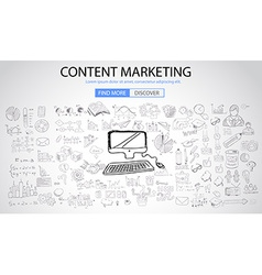 Content Marketing concept with Doodle design style vector