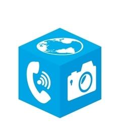 Cube with media app vector