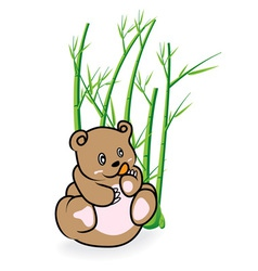 Cute bear in bamboo forrest 03 vector