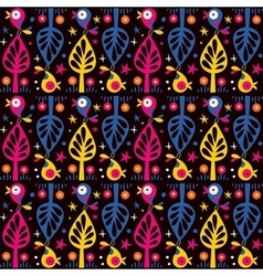 Cute birds in the trees pattern vector