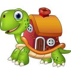 Cute turtle with shell house vector