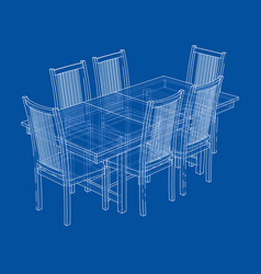 Dinner table with chairs rendering of 3d vector